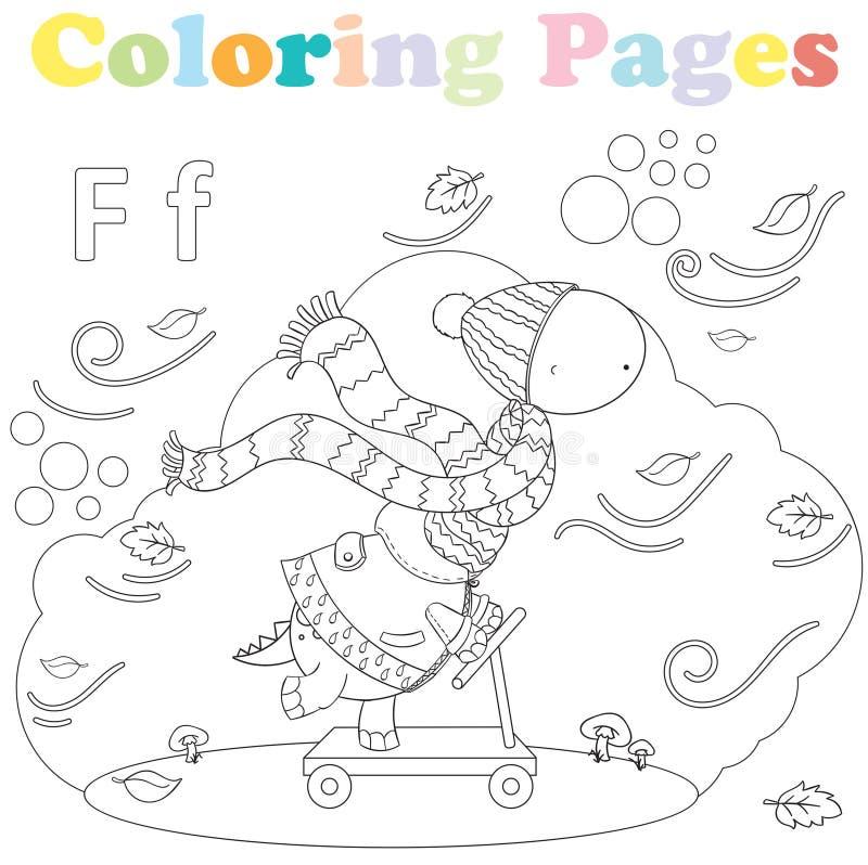 Página que colorea para los niños, sistema del alfabeto, letra F imágenes de archivo libres de regalías