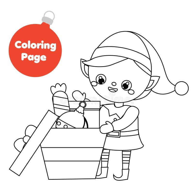 Página que colorea Regalos del paquete del duende del ayudante de Papá Noel Página imprimible de la diversión para los niños, los libre illustration