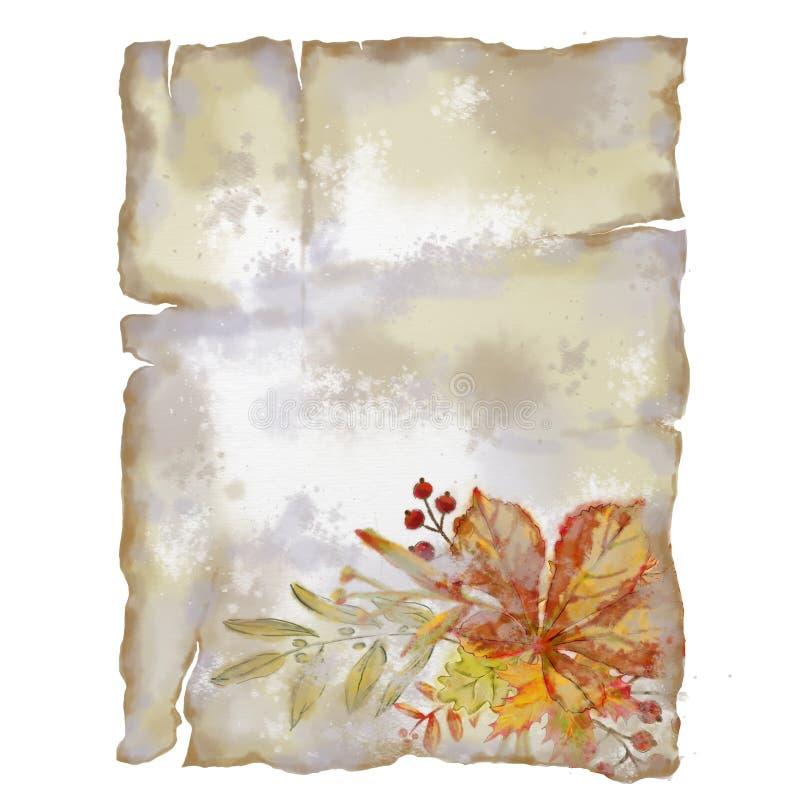 Página rasgada vintage com Autumn Leaves Vignette ilustração do vetor
