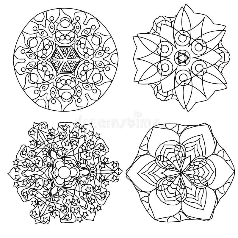 Página Relajante Del Colorante Con La Mandala, Flores Abstractas ...