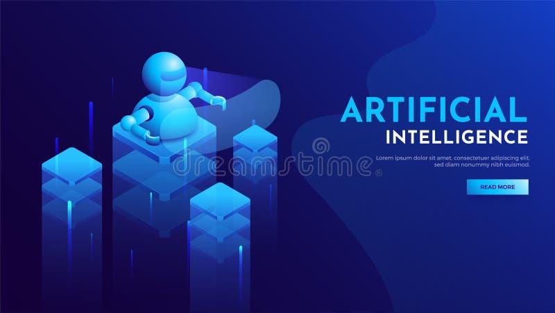 Página responsiva da aterrissagem para a sagacidade da era do AI da inteligência artificial ilustração stock