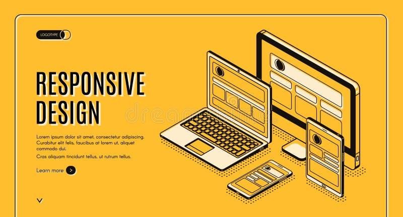 Página responsiva del aterrizaje del diseño, construcción de la página libre illustration