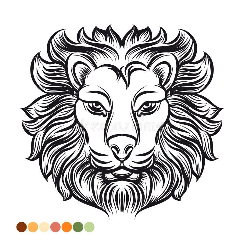Página selvagem da coloração do leão ilustração stock