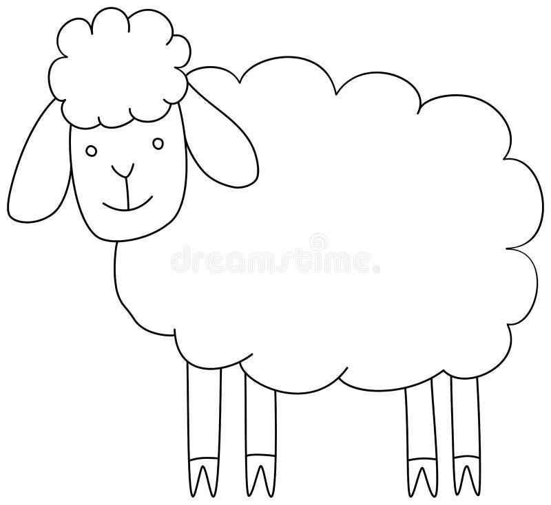P?gina simple del libro de colorear de las ovejas de la historieta para los ni?os Ejemplo del esquema del vector ilustración del vector