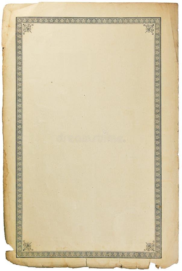 Página suja envelhecida velha da folha do papel do livro, teste padrão ornamentado da vinheta, fundo vertical isolado do sepia do fotos de stock