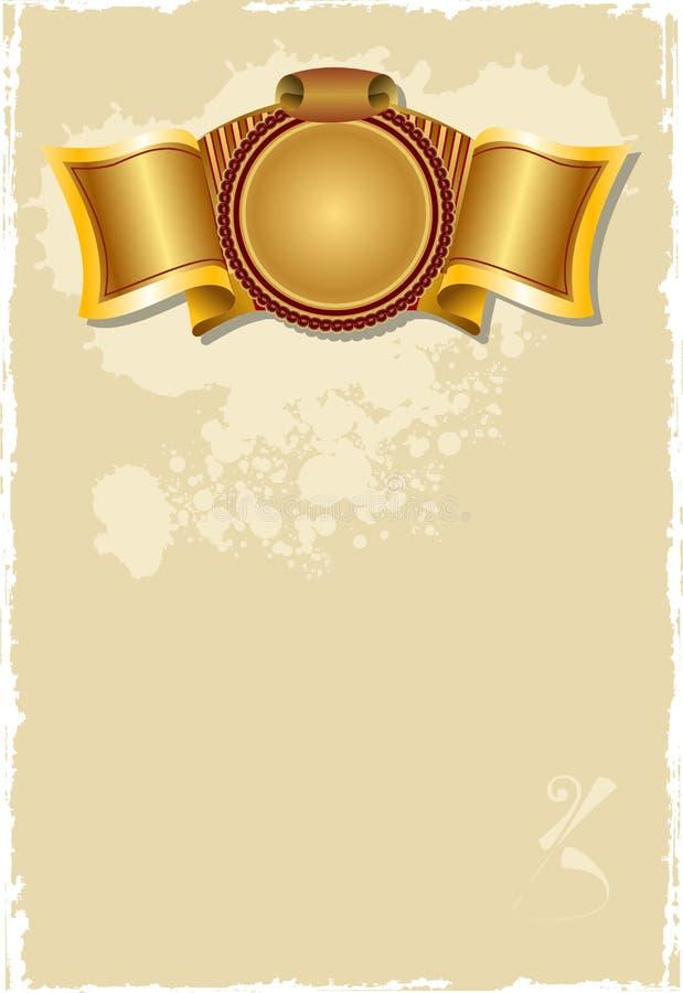 Página velha da bandeira do ouro. ilustração stock