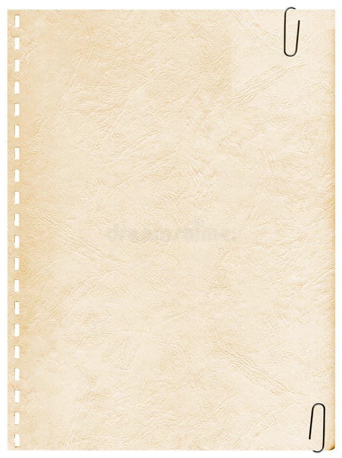 Página velha do vintage de um caderno com grampo imagens de stock royalty free