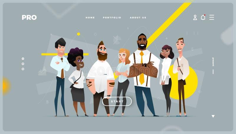 Página web abstracta principal con los caracteres del negocio de la historieta ilustración del vector
