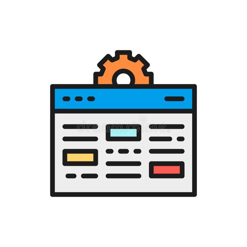 Página web con el engranaje, desarrollo de Internet, línea de color plana del seo icono del vector libre illustration