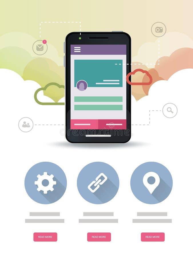 Página web de la aplicación móvil de la nube ilustración del vector