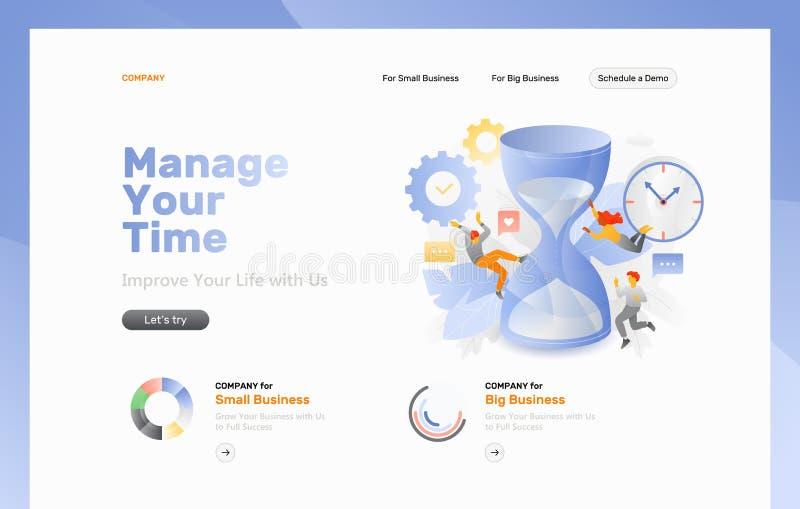 Página web de la gestión de tiempo ilustración del vector