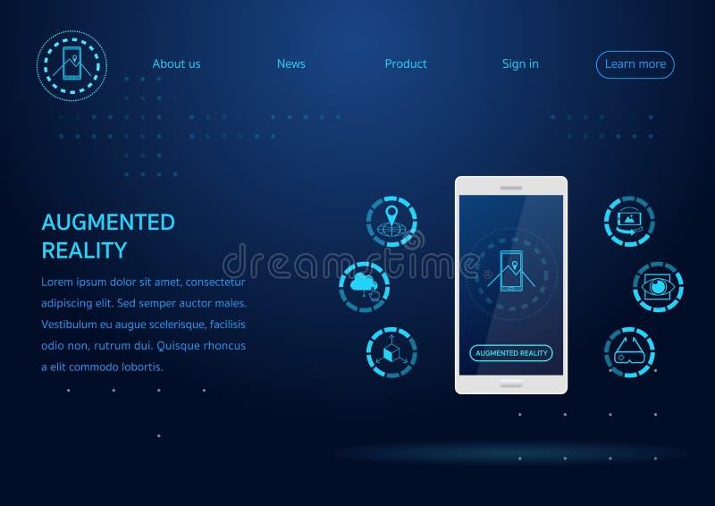 Página web de la tecnología de AR ilustración del vector