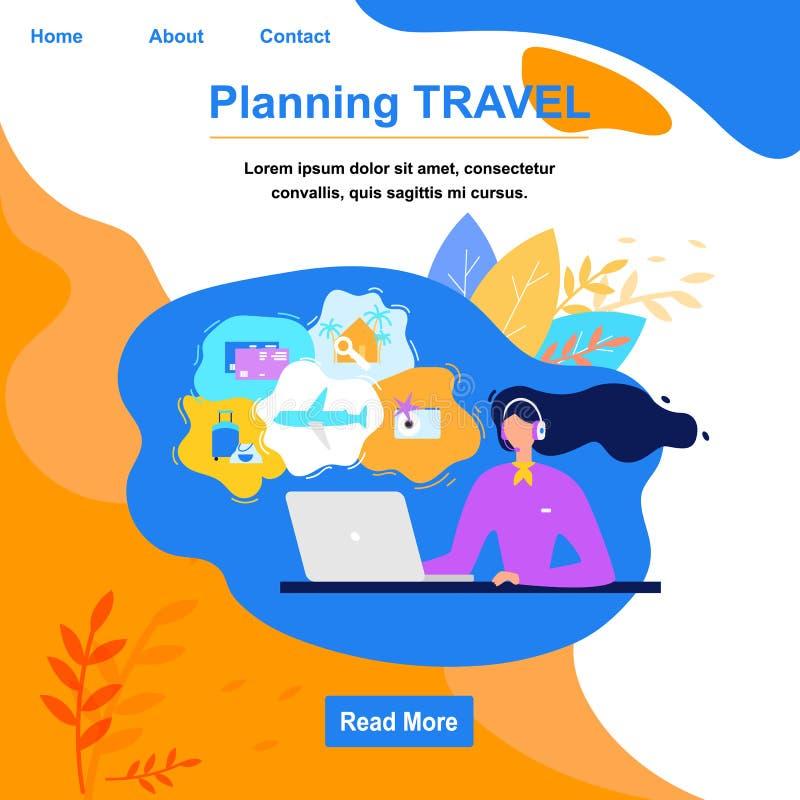 Página web de planificación del vector del plano de servicio online del viaje stock de ilustración