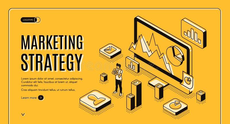 Página web de planificación del vector del servicio de la estrategia de marketing ilustración del vector