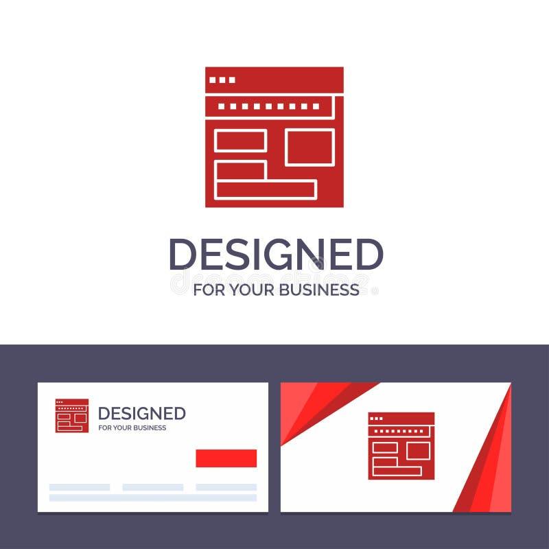 Página web de visita de la plantilla creativa de la tarjeta y del logotipo, navegador, negocio, corporativo, página, web, ejemplo stock de ilustración