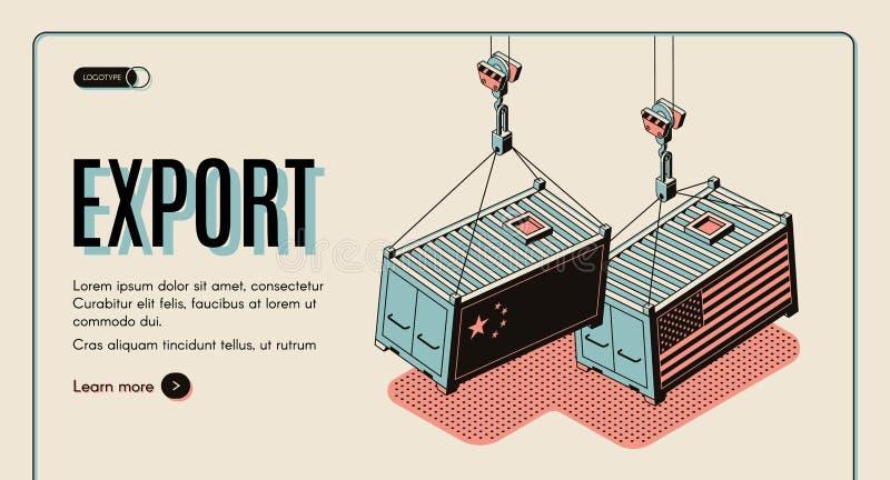 Página web del vector de la exportación de las mercancías de los países extranjeros ilustración del vector