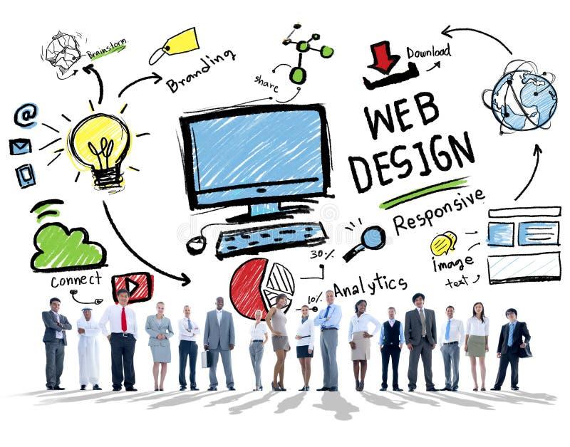 Página web gráfica de Webdesign de la disposición de Digitaces de la creatividad contenta concentrada imagen de archivo libre de regalías