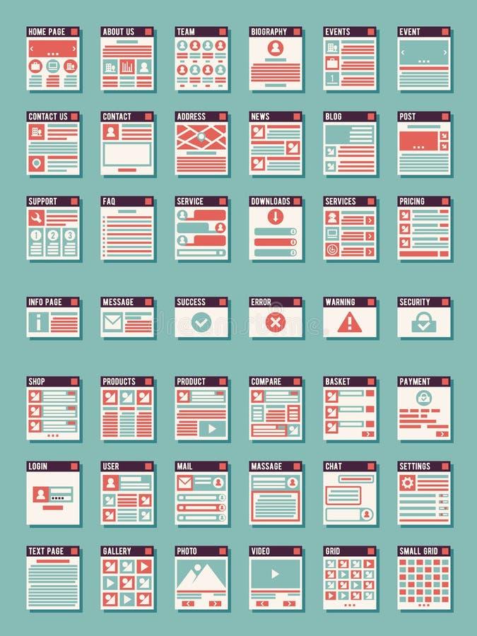 Página web, iconos del vector de los sitemaps stock de ilustración