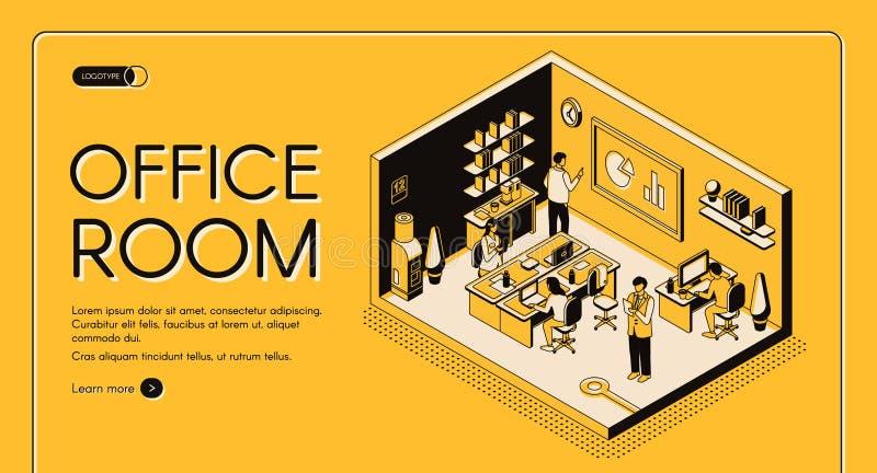 p?gina web isom?trica de Co-trabajo del vector de la oficina de centro libre illustration