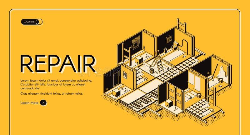 Página web isométrica del vector de la compañía de la reparación de la casa ilustración del vector