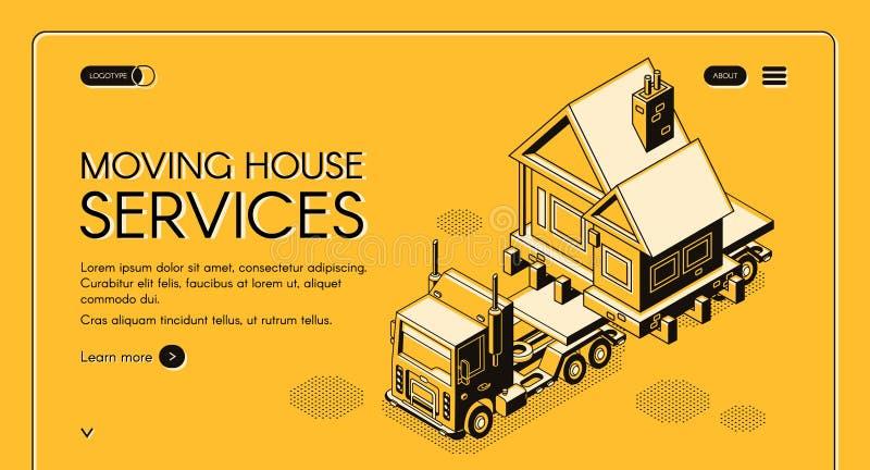Página web isométrica del vector de los servicios móviles de la casa stock de ilustración