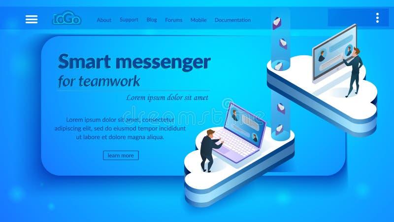 Página web isométrica del vector del mensajero elegante del negocio libre illustration