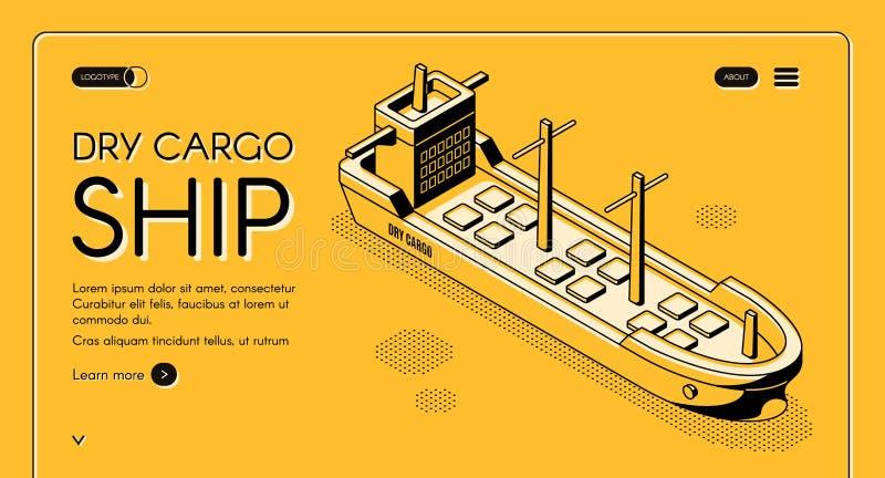 Página web isométrica del vector del servicio a granel del carguero stock de ilustración