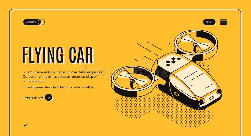 Página web isométrica futura del vector del coche del taxi que vuela ilustración del vector