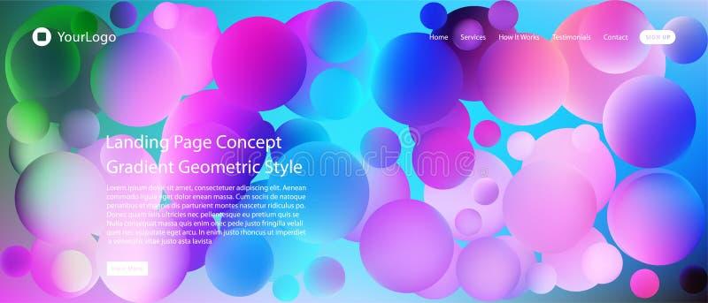 Página web o página móvil del aterrizaje del app con el ejemplo del diseño y de la pendiente geométricos mínimos coloridos del fo ilustración del vector