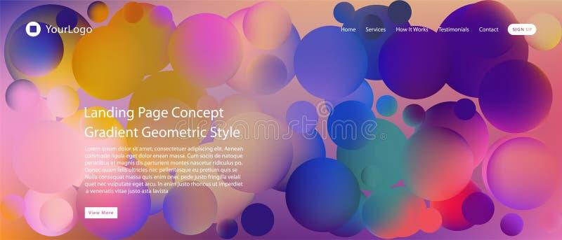 Página web o página móvil del aterrizaje del app con el ejemplo del diseño y de la pendiente geométricos mínimos coloridos del fo stock de ilustración