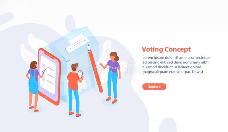 Página web, página web o plantilla de la bandera con la gente que se coloca al lado de la urna gigante en el colegio electoral y  ilustración del vector