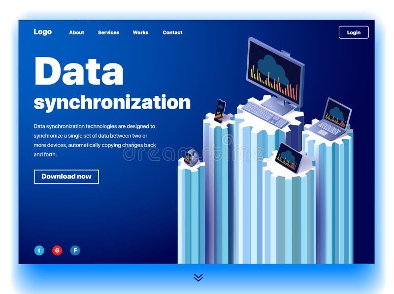 Página web que proporciona el servicio de la sincronización de datos libre illustration