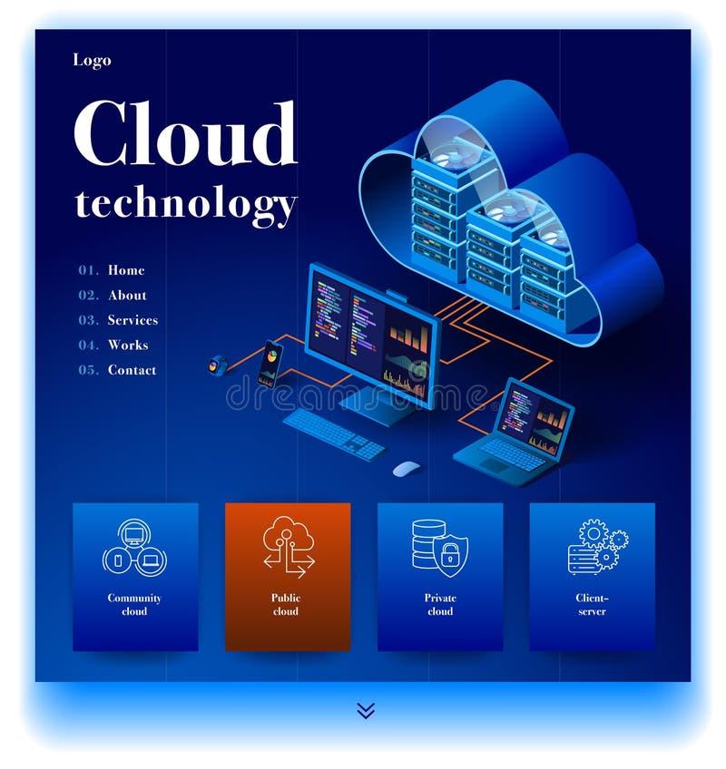 Página web que proporciona el servicio de la tecnología moderna de la nube stock de ilustración
