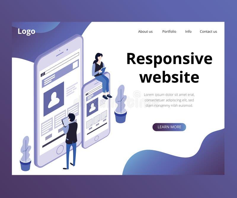 Página web responsiva de un concepto isométrico de las ilustraciones del negocio ilustración del vector