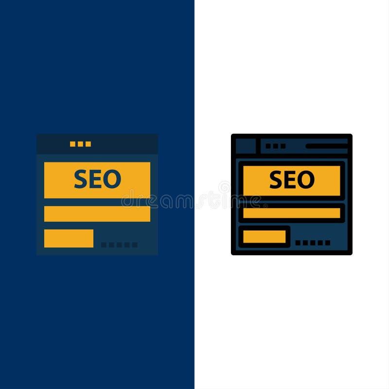Página web, servidor, datos, recibiendo, Seo, iconos de la tecnología El plano y la línea icono llenado fijaron el fondo azul del ilustración del vector