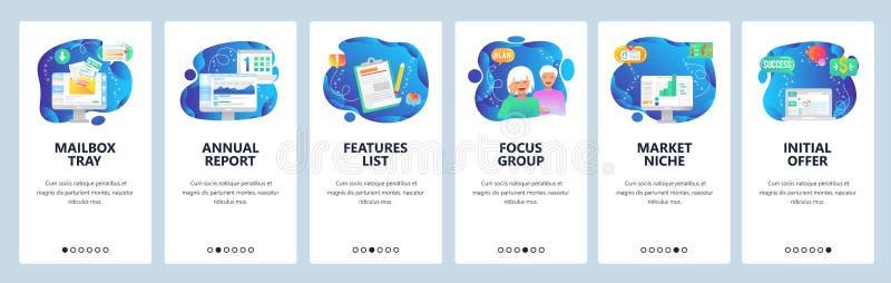 Página web y plantilla onboarding del vector de las pantallas del app móvil stock de ilustración