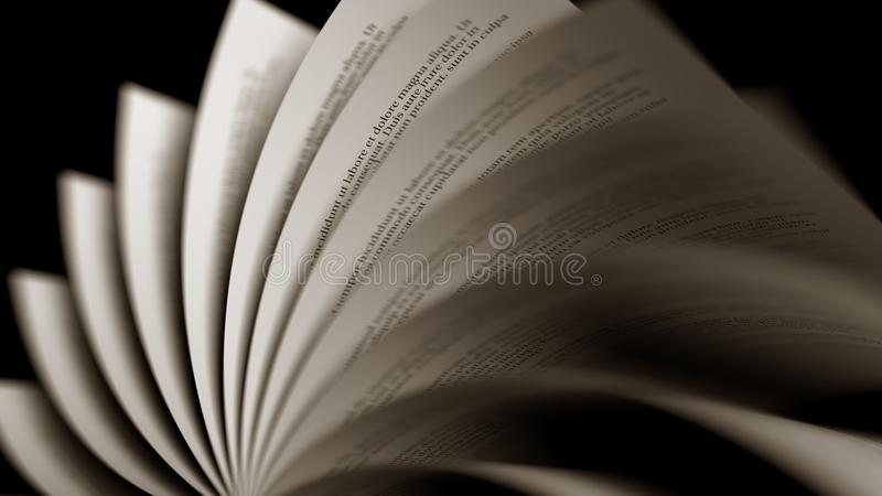 Páginas amareladas de giro de um livro rendição 3d ilustração do vetor