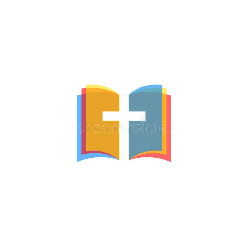 Páginas coloridas del icono de la Sagrada Biblia, iglesia del logotipo de la religión, maqueta del símbolo del evangelio stock de ilustración