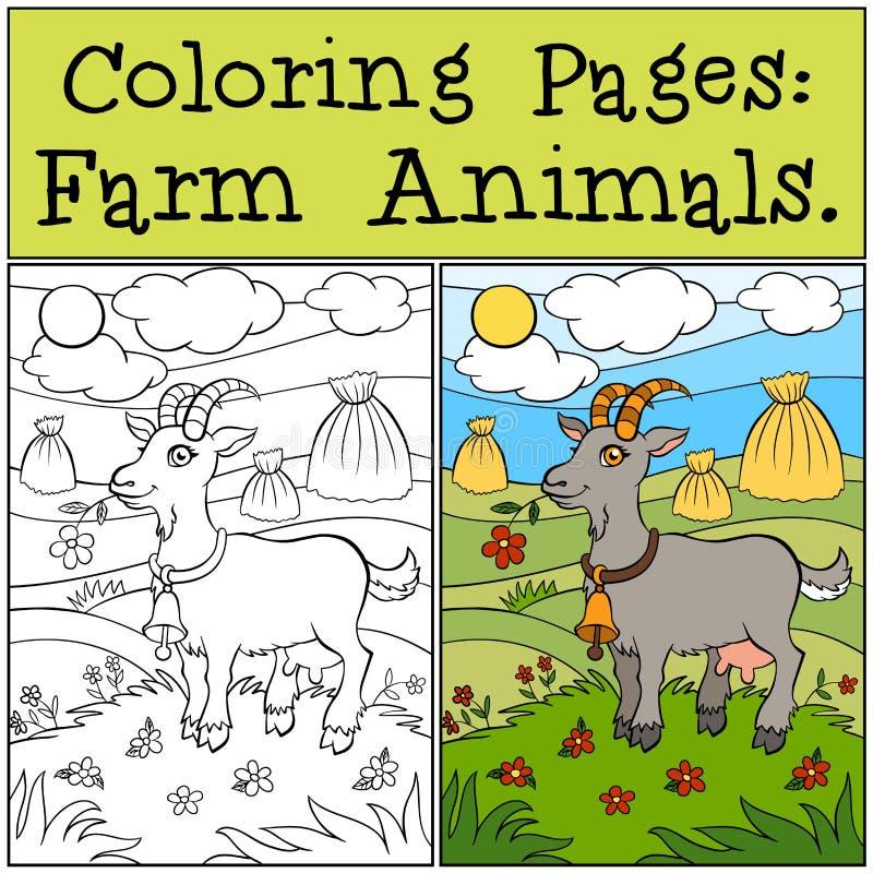 Páginas da coloração: Animais de exploração agrícola Cabra bonito ilustração do vetor