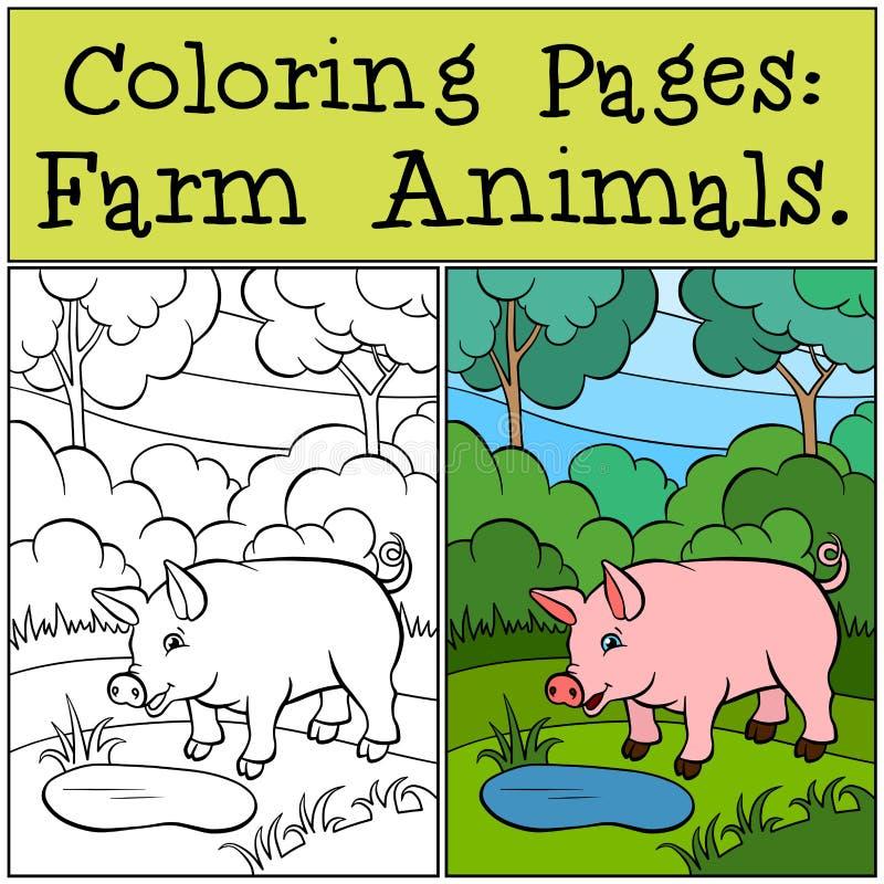 Páginas da coloração: Animais de exploração agrícola Porco bonito pequeno ilustração do vetor