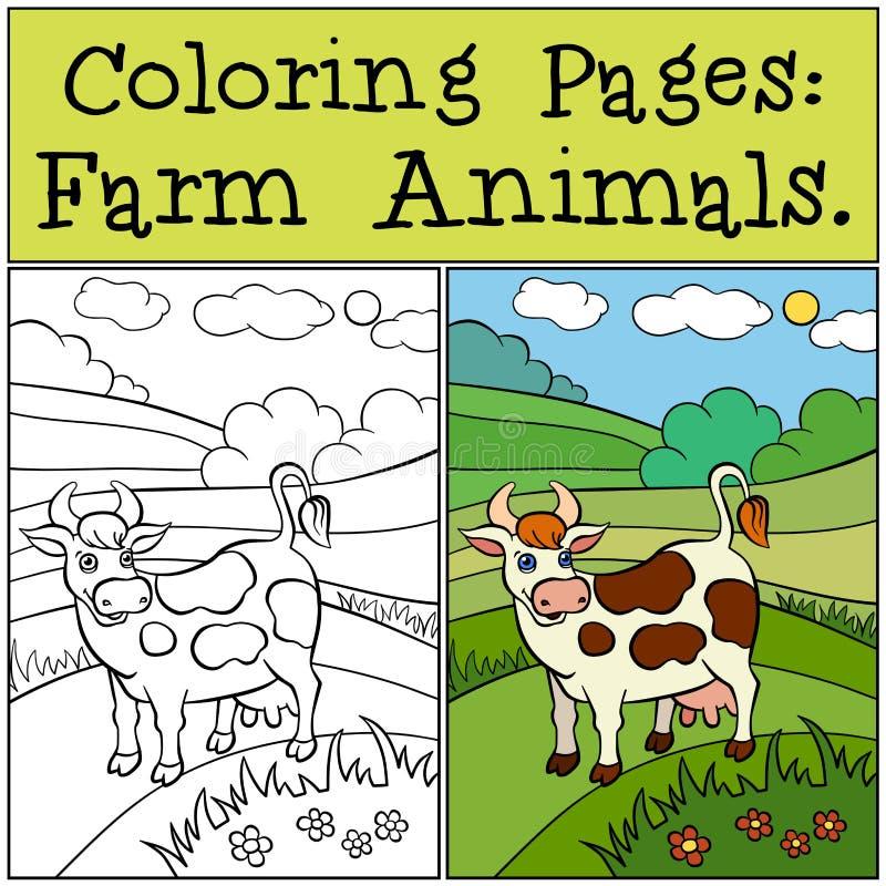 Páginas da coloração: Animais de exploração agrícola Vaca bonito ilustração do vetor
