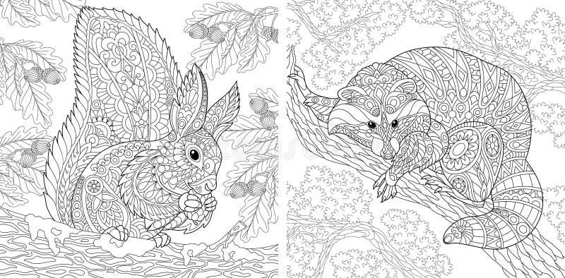 Páginas da coloração com esquilo e guaxinim ilustração stock