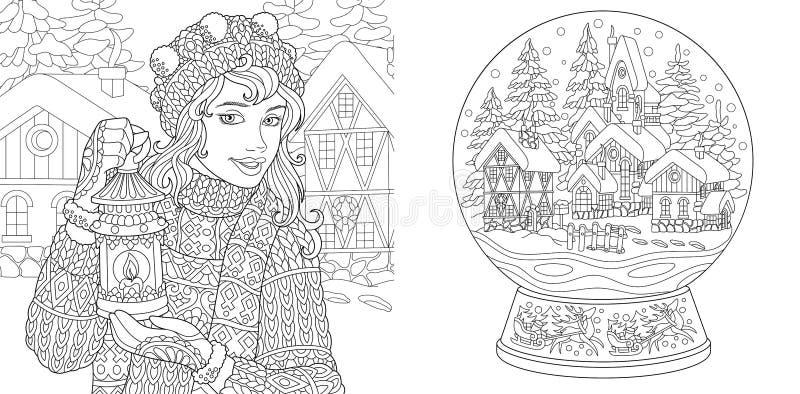 Páginas da coloração com menina do inverno e bola da neve da mágica ilustração do vetor