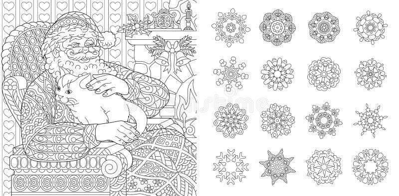 Páginas da coloração com Santa Claus e os flocos de neve ilustração do vetor