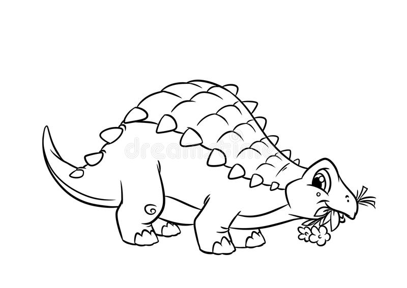 Páginas da coloração do Ankylosaurus do dinossauro ilustração stock