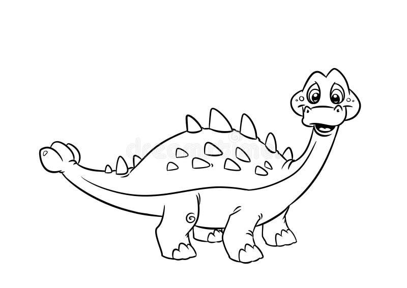 Páginas da coloração do Pinacosaurus do dinossauro ilustração do vetor
