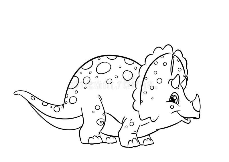 Páginas da coloração do Triceratops do dinossauro ilustração royalty free