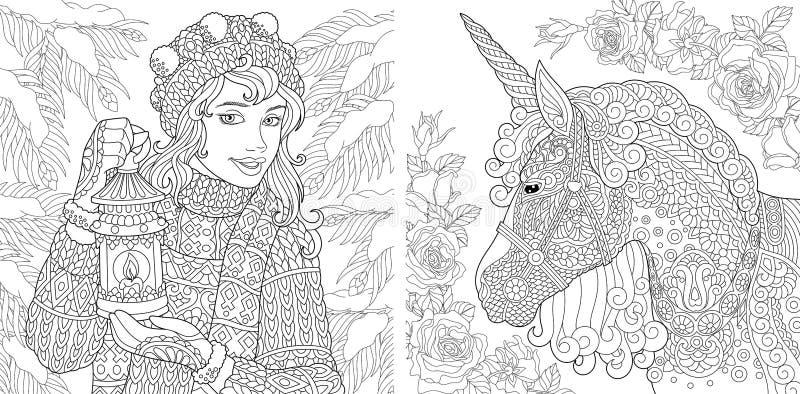 Páginas da coloração da fantasia Livro para colorir para adultos Imagens colorindo com menina do inverno e unicórnio mágico A mão ilustração do vetor