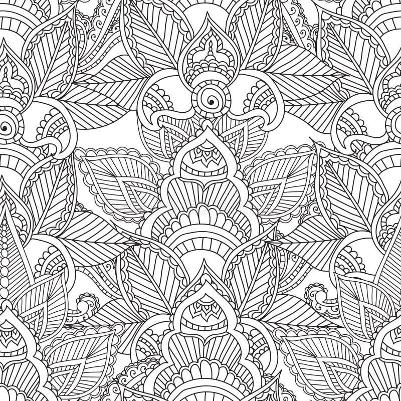 Páginas da coloração para adultos Elementos de Seamles Henna Mehndi Doodles Abstract Floral ilustração do vetor