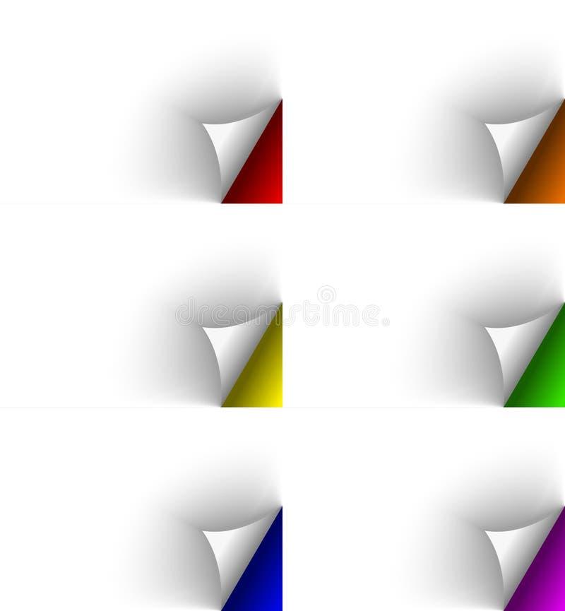 Download Páginas Dadas Vuelta Blanco En Diversos Fondos De Los Colores Ilustración del Vector - Ilustración de cartulina, esquina: 42425204